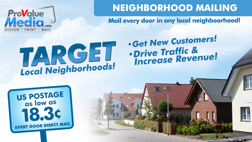 Every Door Direct Mail (EDDM) is a new program from the United States Post Office. This program offers a discounted postage rate of 18.3 cents per piece.  sc 1 st  ProValueMedia.com & Every Door Direct Mail u2013 ProValueMedia.com